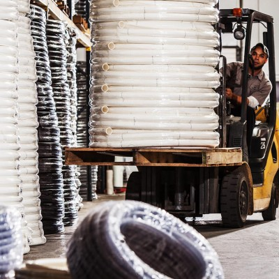 Hoses and warehousing at Marine Products International, by Barney Taxel.
